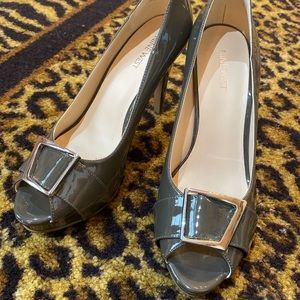 Nine West shiny Gray heels with silver buckle
